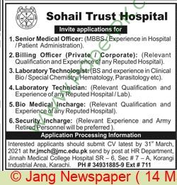 Sohail Trust Hospital jobs newspaper ad for Senior Medical Officer in Karachi on 2021-03-14