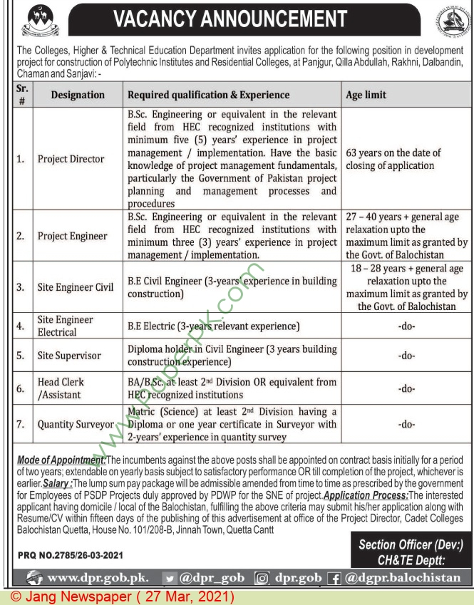 Higher & Technical Education Department jobs newspaper ad for Site Engineer in Quetta on 2021-03-27