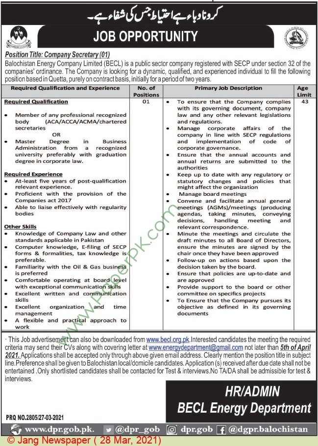 Balochistan Energy Company Limited jobs newspaper ad for Company Secretary in Quetta on 2021-03-28