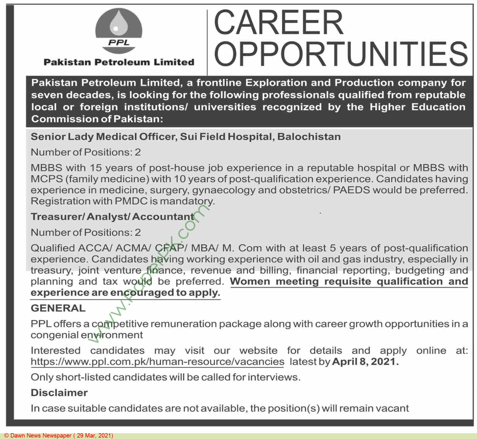 Pakistan Petroleum Limited jobs newspaper ad for Senior Lady Medical Officer in Quetta on 2021-03-29