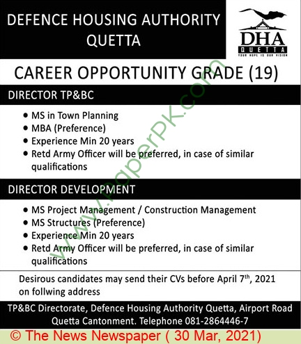Defence Housing Authority jobs newspaper ad for Director in Quetta on 2021-03-30