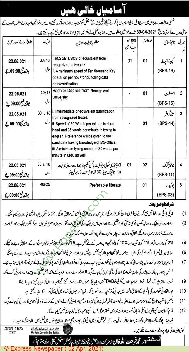 District & Session Court jobs newspaper ad for Junior Clerk in buner on 2021-04-02