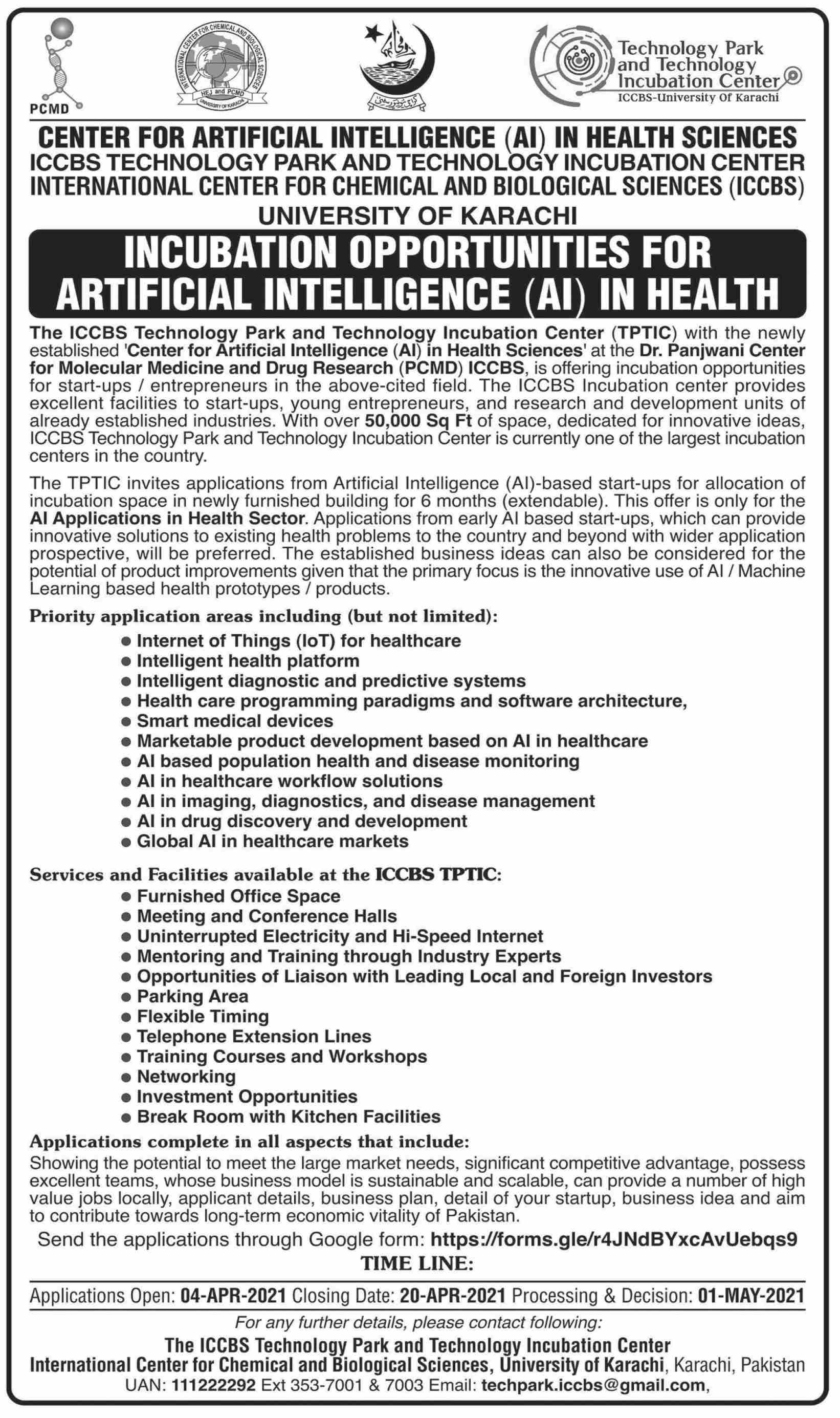 International Center For Chemical & Biological Sciences jobs newspaper ad for Artificial Intelligence in Karachi on 2021-04-04