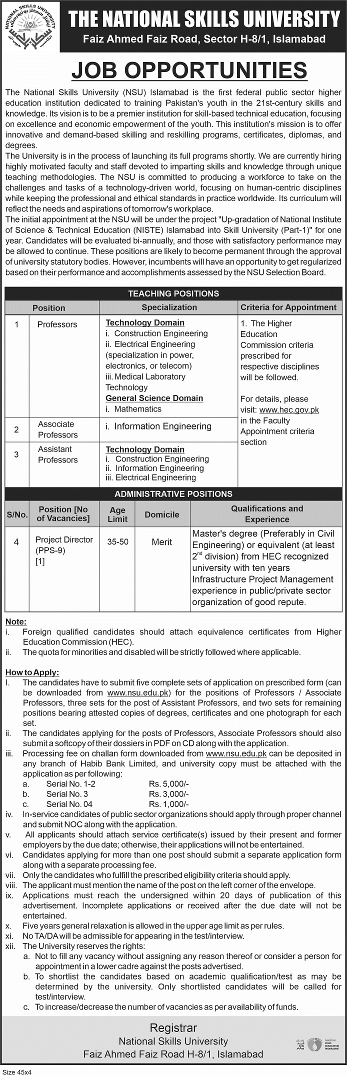 National Skills University jobs newspaper ad for Assistant Professor in Islamabad on 2021-04-04