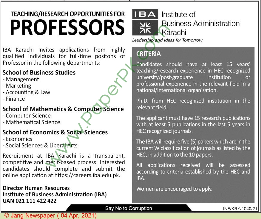 Institute of Business Administration jobs newspaper ad for Professor in Karachi on 2021-04-04