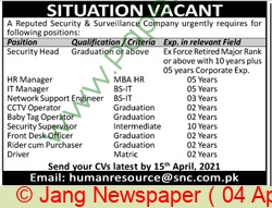 Security & Surveillance Company jobs newspaper ad for Hr Manager in Karachi on 2021-04-04
