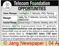 Telecom Foundation jobs newspaper ad for Manager in Karachi on 2021-04-04