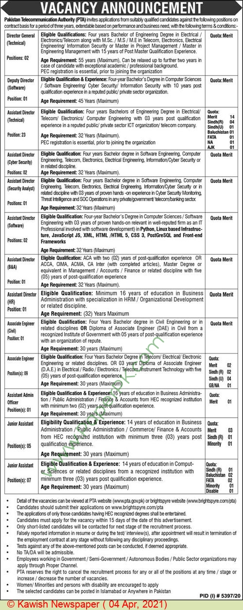 Pakistan Telecommunication Authority jobs newspaper ad for Director General in Islamabad on 2021-04-04