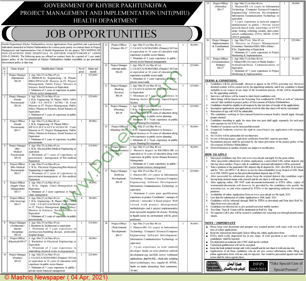 Health Department jobs newspaper ad for Project Officer in Peshawar on 2021-04-04