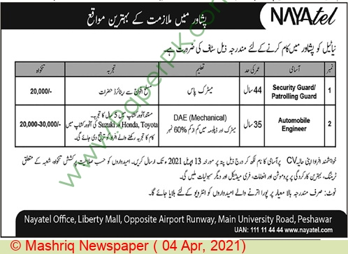 Nayatel Private Limited jobs newspaper ad for Security Guard in Peshawar on 2021-04-04
