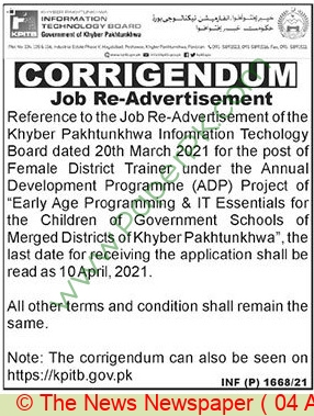 Information Technology Board jobs newspaper ad for Female District Trainer in Peshawar on 2021-04-04
