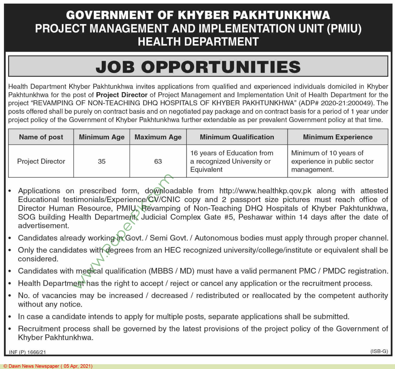 Health Department jobs newspaper ad for Project Director in Peshawar on 2021-04-05