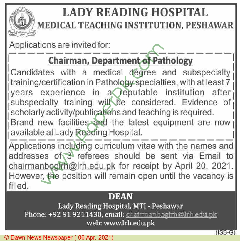 Lady Reading Hospital jobs newspaper ad for Chairman in Peshawar on 2021-04-06
