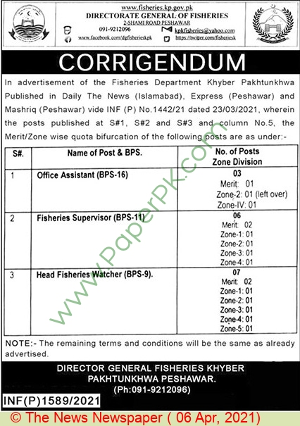 Fisheries Department jobs newspaper ad for Office Assistant in Peshawar on 2021-04-06