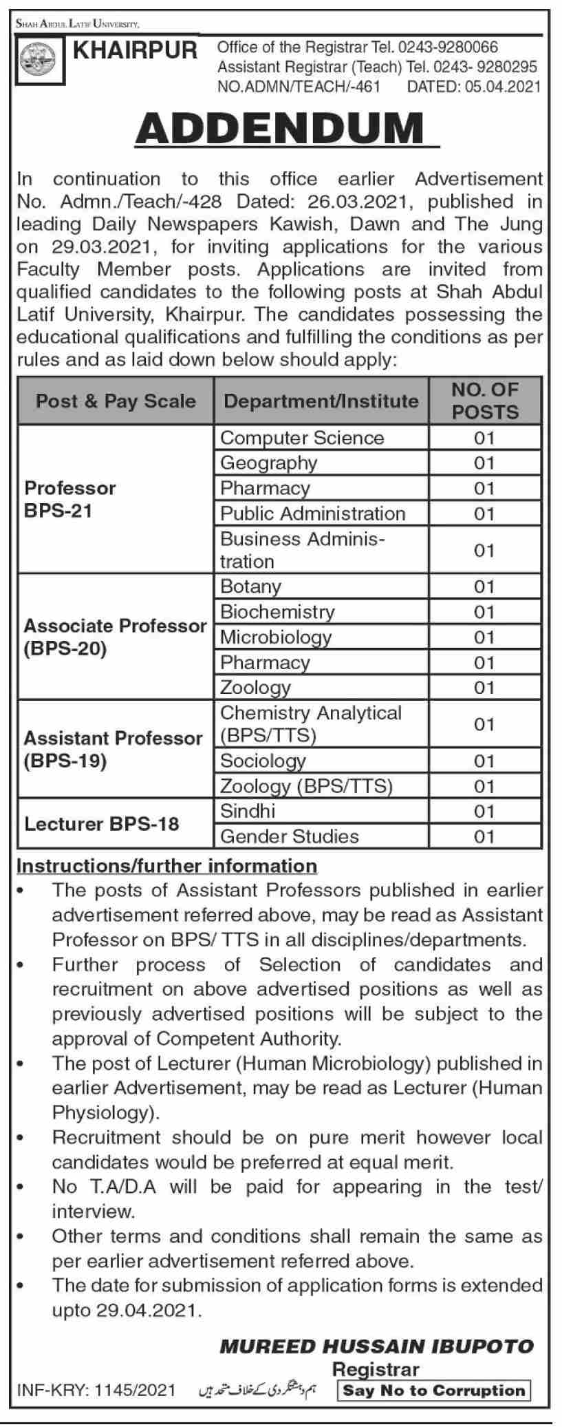 Shah Abdul Latif University jobs newspaper ad for Lecturer in Khairpur on 2021-04-07