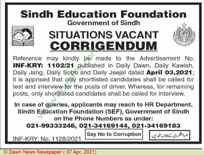 Sindh Education Foundation jobs newspaper ad for Driver in Karachi on 2021-04-07
