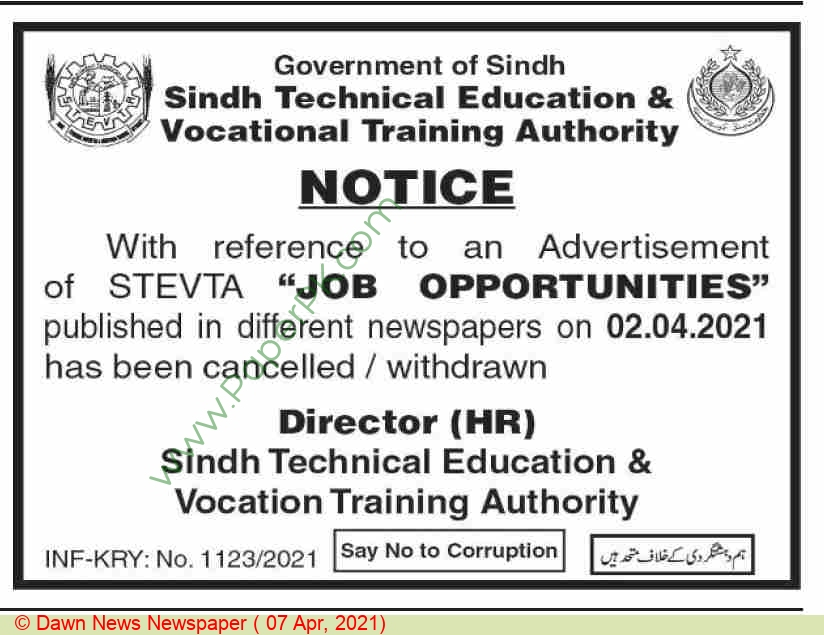 Sindh Technical Education & Vocational Training Authority jobs newspaper ad for Staff (cancellation) in Karachi on 2021-04-07