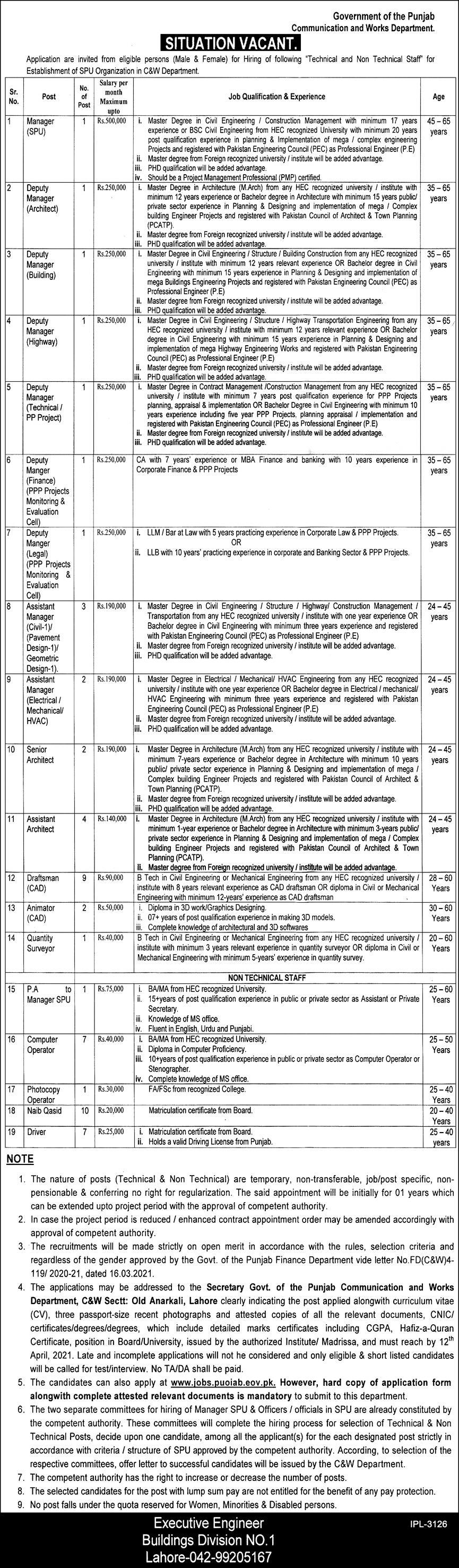 Communication & Works Department jobs newspaper ad for Quantity Surveyor in Lahore on 2021-04-07