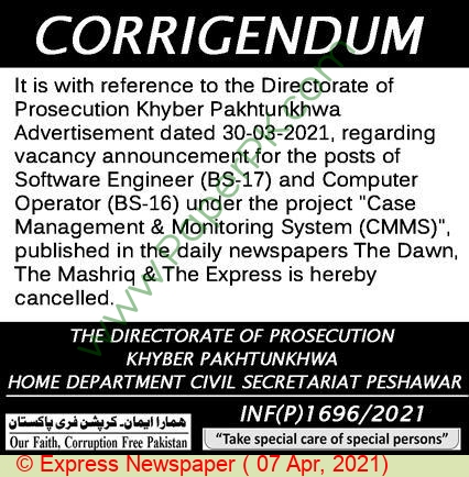 Home Department jobs newspaper ad for Software Engineer in Peshawar on 2021-04-07