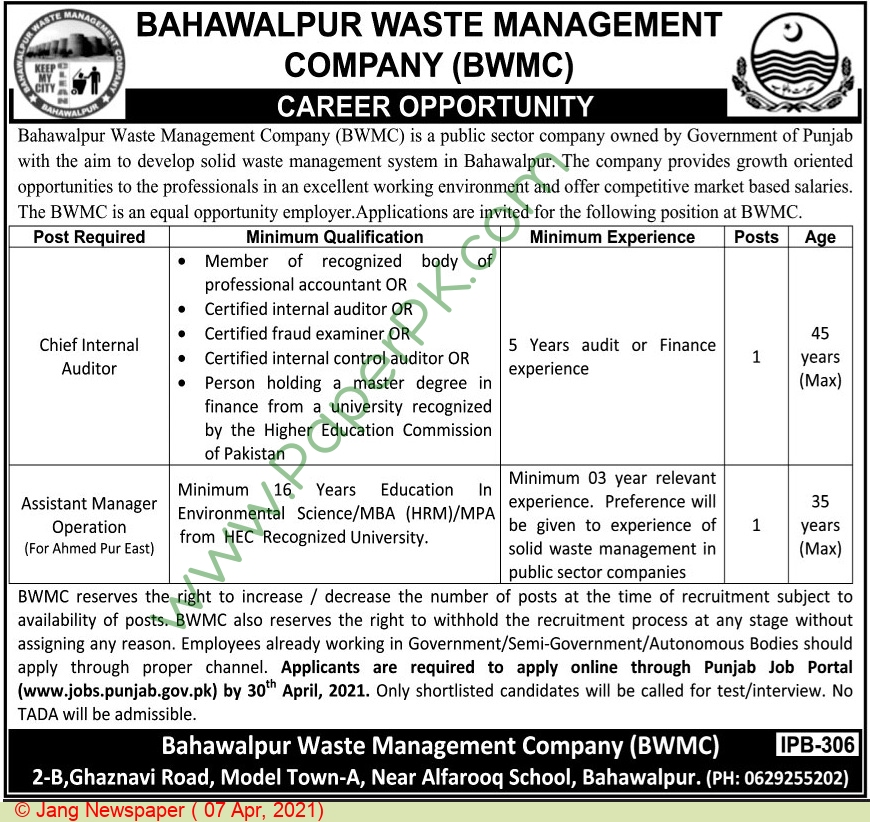 Bahawalpur Waste Management Company jobs newspaper ad for Chief Internal Auditor in Bahawalpur on 2021-04-07