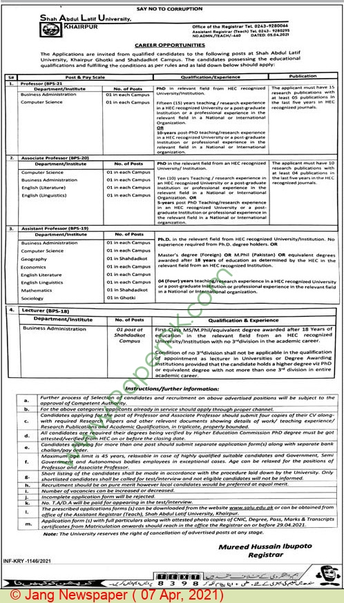 Shah Abdul Latif University jobs newspaper ad for Professor in Khairpur on 2021-04-07