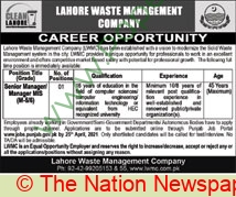 Lahore Waste Management Company jobs newspaper ad for Senior Manager in Lahore on 2021-04-07