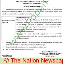Institute Of Strategic Studies jobs newspaper ad for Research Associate in Islamabad on 2021-04-07