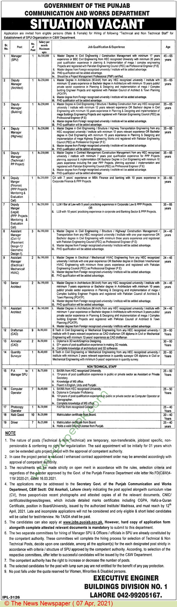 Communication & Works Department jobs newspaper ad for Pa Manager in Lahore on 2021-04-07
