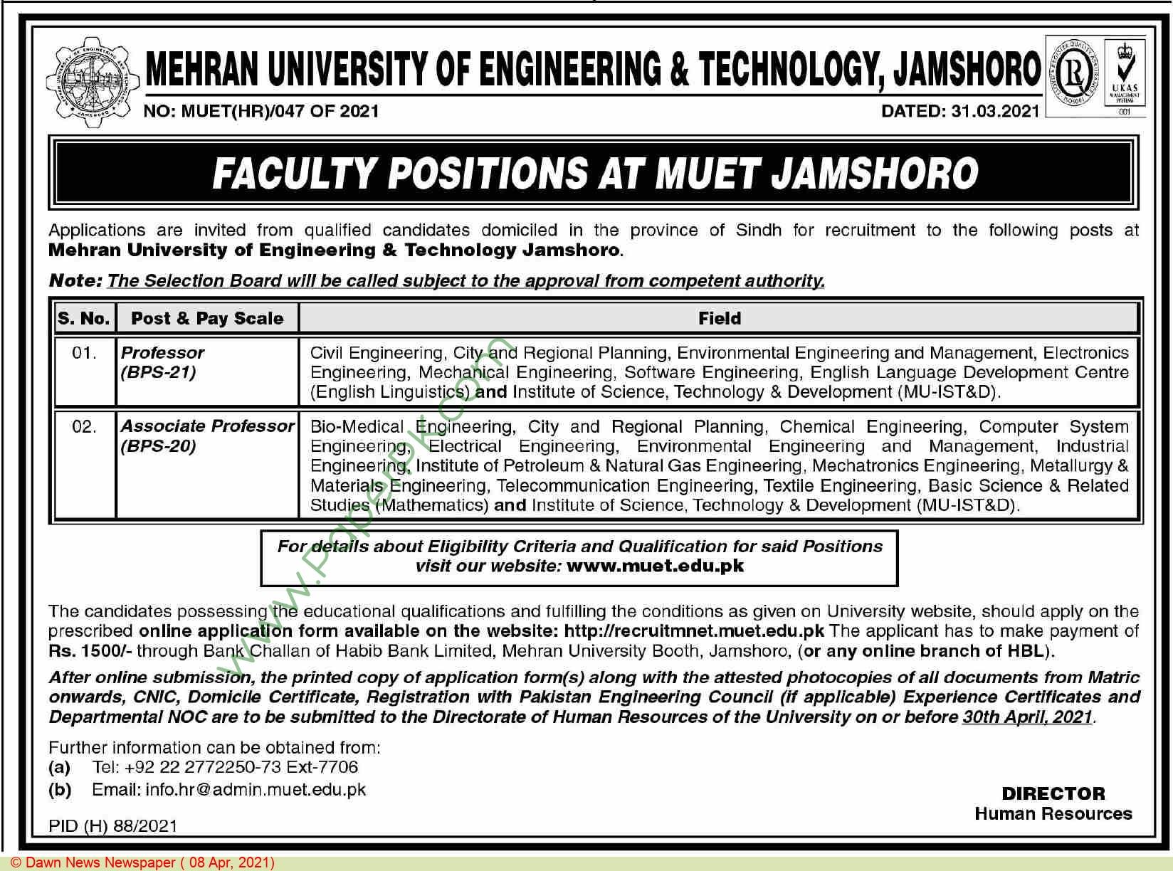 Mehran University Of Engineering & Technology jobs newspaper ad for Professor in Jamshoro on 2021-04-08