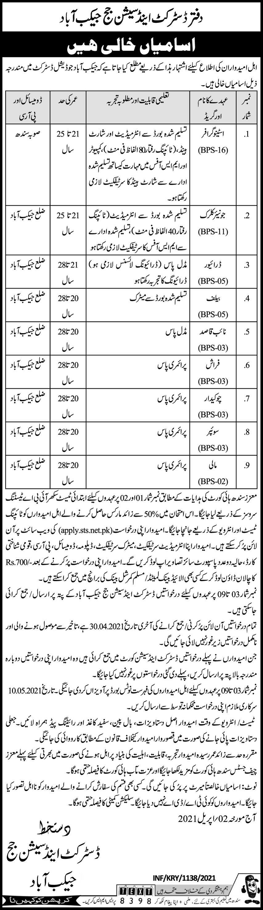 District & Session Court jobs newspaper ad for Junior Clerk in Jacobabad on 2021-04-08