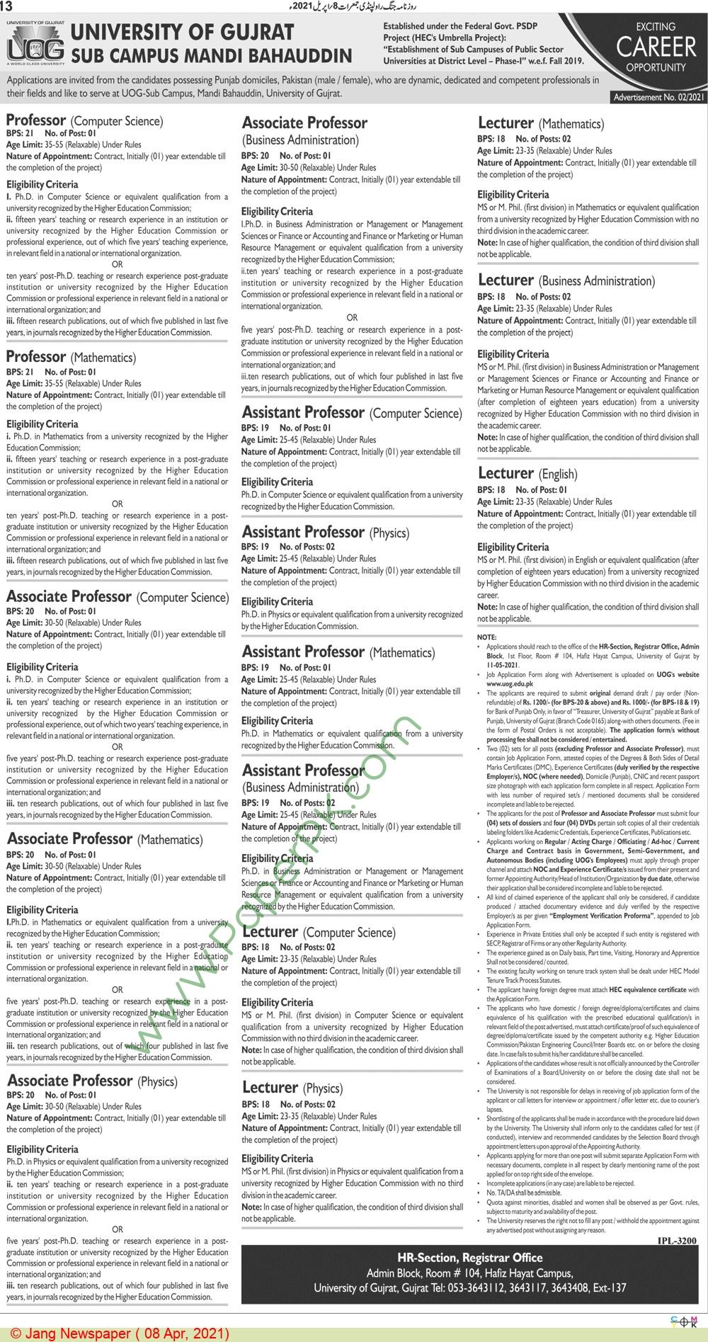 University Of Gujrat jobs newspaper ad for Professor in Gujrat on 2021-04-08