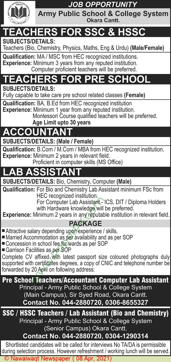 Army Public School & College System jobs newspaper ad for Teacher in Okara on 2021-04-08