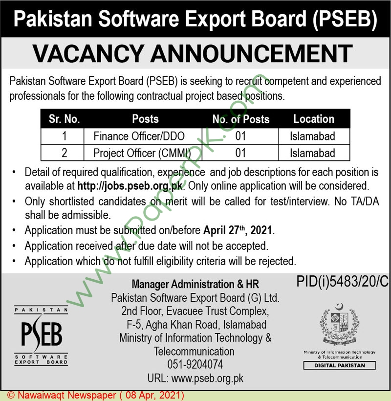Pakistan Software Export Board jobs newspaper ad for Finance Officer in Islamabad on 2021-04-08
