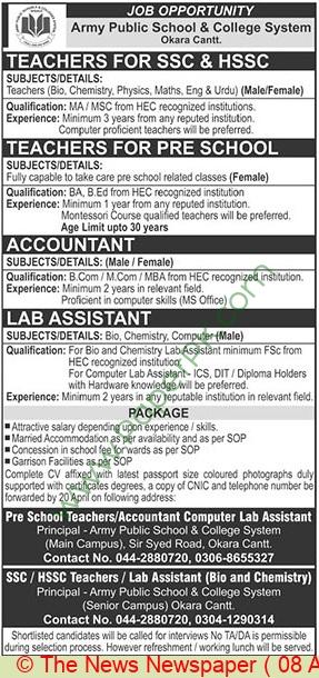 Army Public School & College System jobs newspaper ad for Teacher in Okara on 2021-04-08