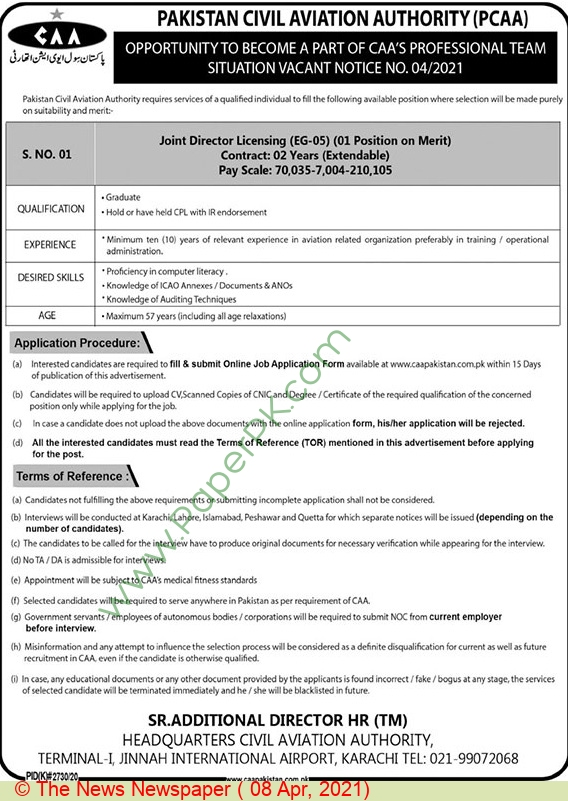 Pakistan Civil Aviation Authority jobs newspaper ad for Director in Karachi on 2021-04-08