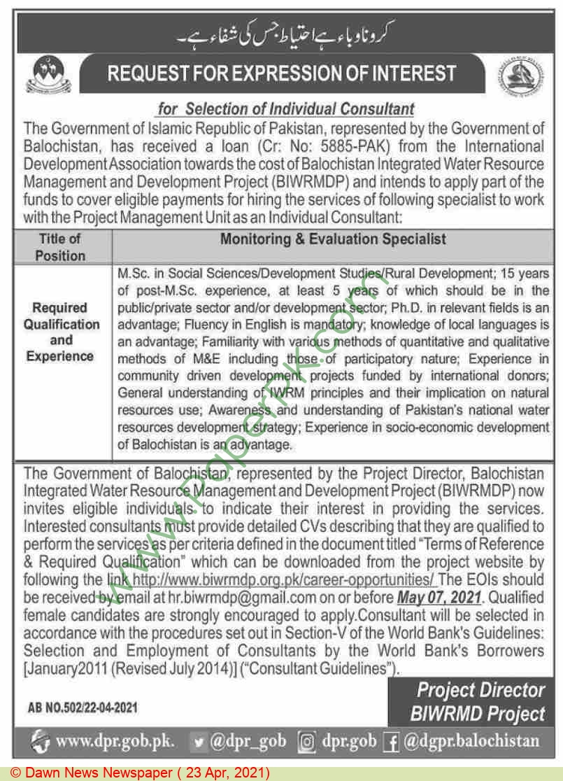 Balochistan Integrated Water Resource Management & Development Project jobs newspaper ad for Monitoring & Evaluation Specialist in Quetta on 2021-04-23