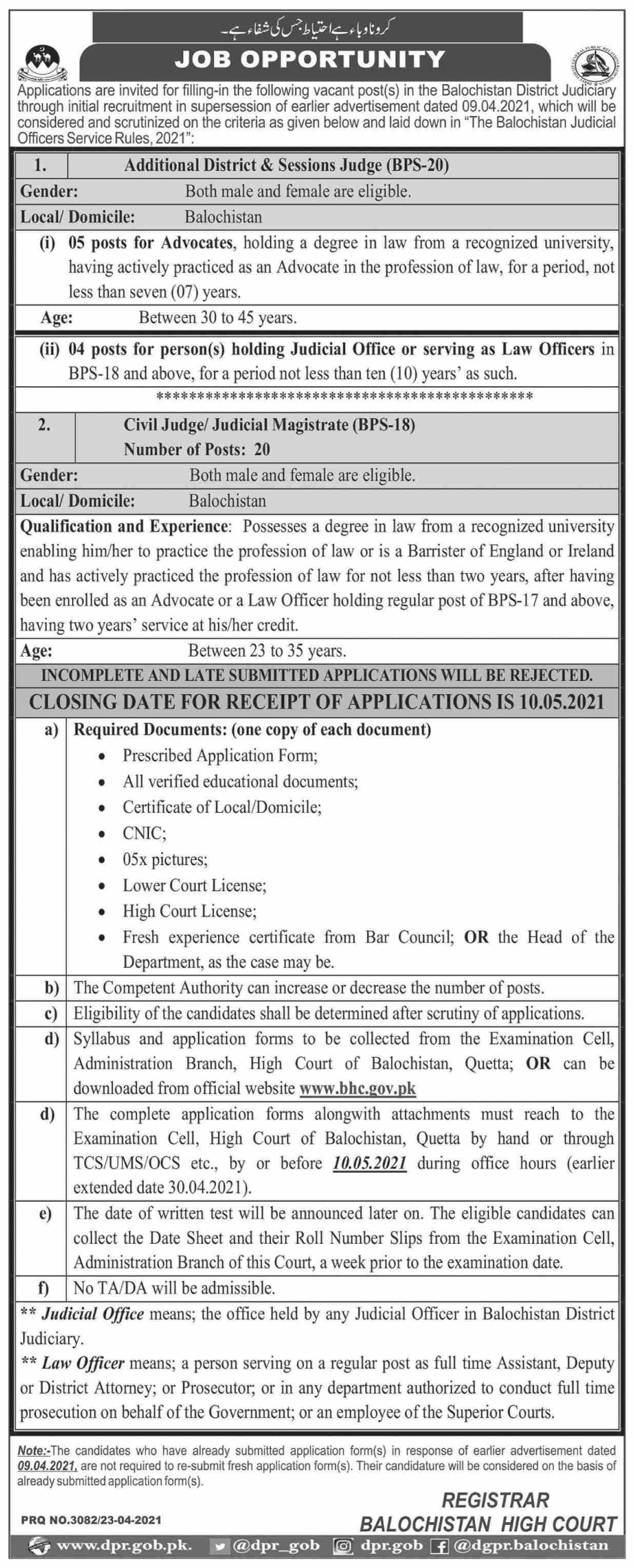 High Court Of Balochistan jobs newspaper ad for Additional District & Session Judge in Quetta on 2021-04-24