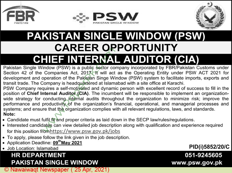 Federal Board Of Revenue jobs newspaper ad for Chief Internal Auditor in Islamabad on 2021-04-25