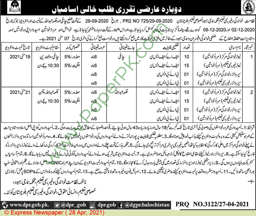 Social Welfare Department jobs newspaper ad for Supervisor in Quetta on 2021-04-28