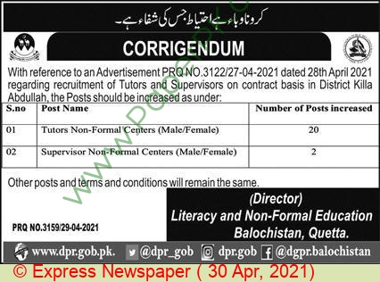Literacy & Non Formal Basic Education Department jobs newspaper ad for Tutor in Quetta on 2021-04-30