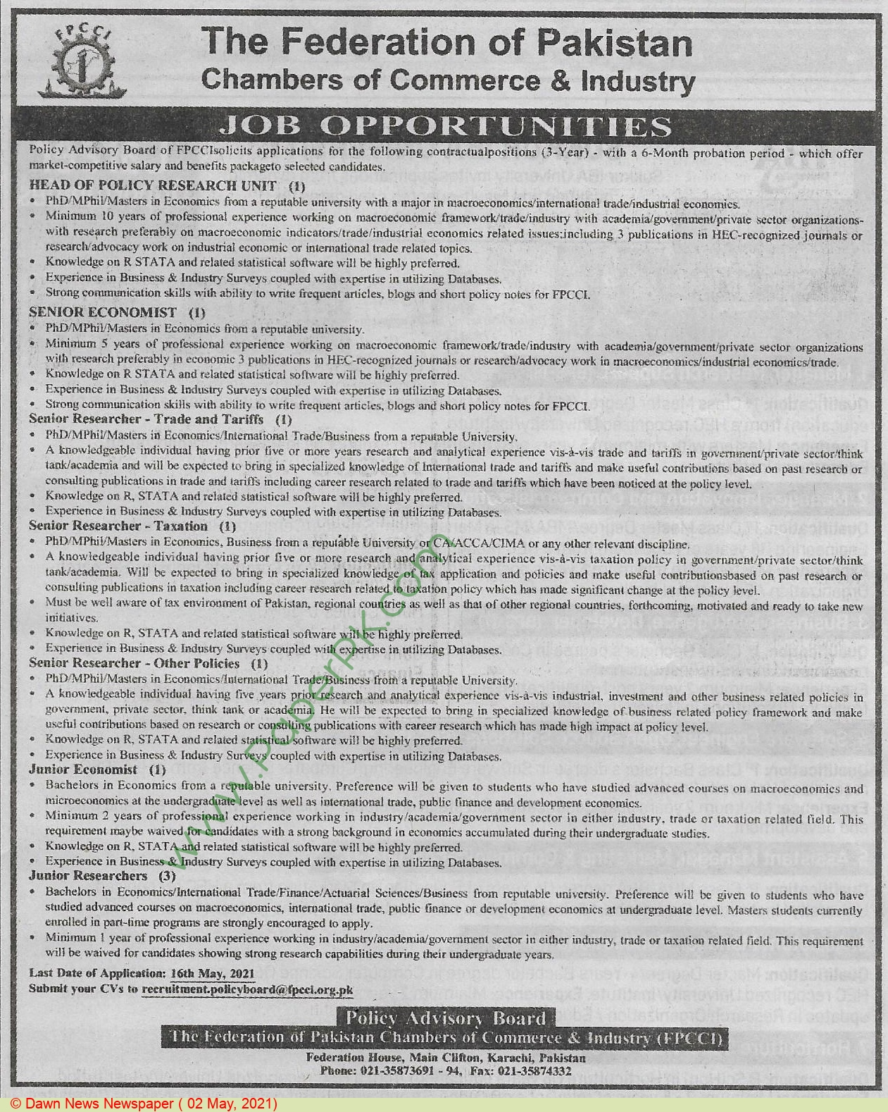 The Federation Of Pakistan Chambers Of Commerce & Industry jobs newspaper ad for Junior Researcher in Karachi on 2021-05-02