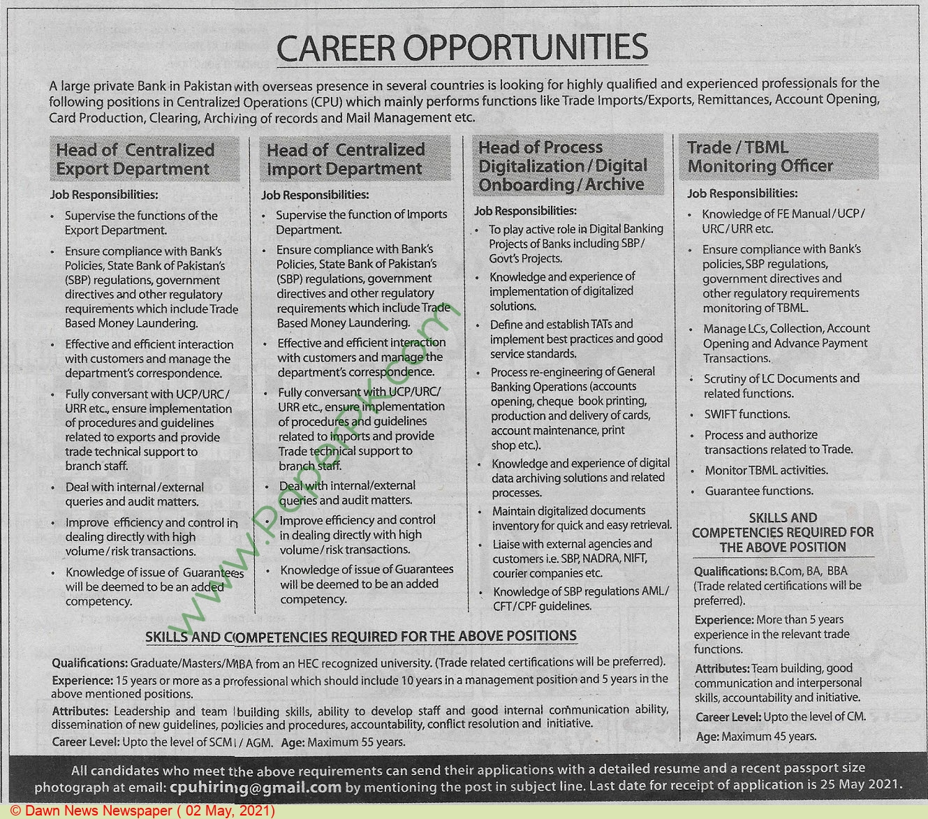 Karachi Based Company jobs newspaper ad for Head Of Centralized Export Department in Karachi on 2021-05-02