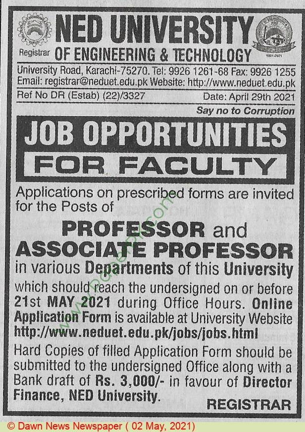 Ned University Of Engineering & Technology jobs newspaper ad for Associate Professor in Karachi on 2021-05-02