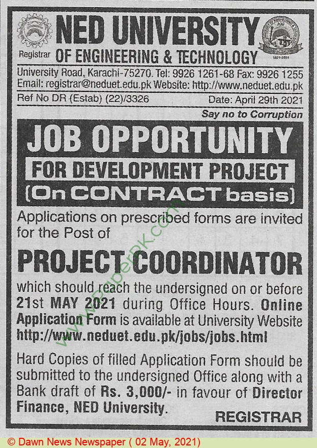 Ned University Of Engineering & Technology jobs newspaper ad for Project Coordinator in Karachi on 2021-05-02