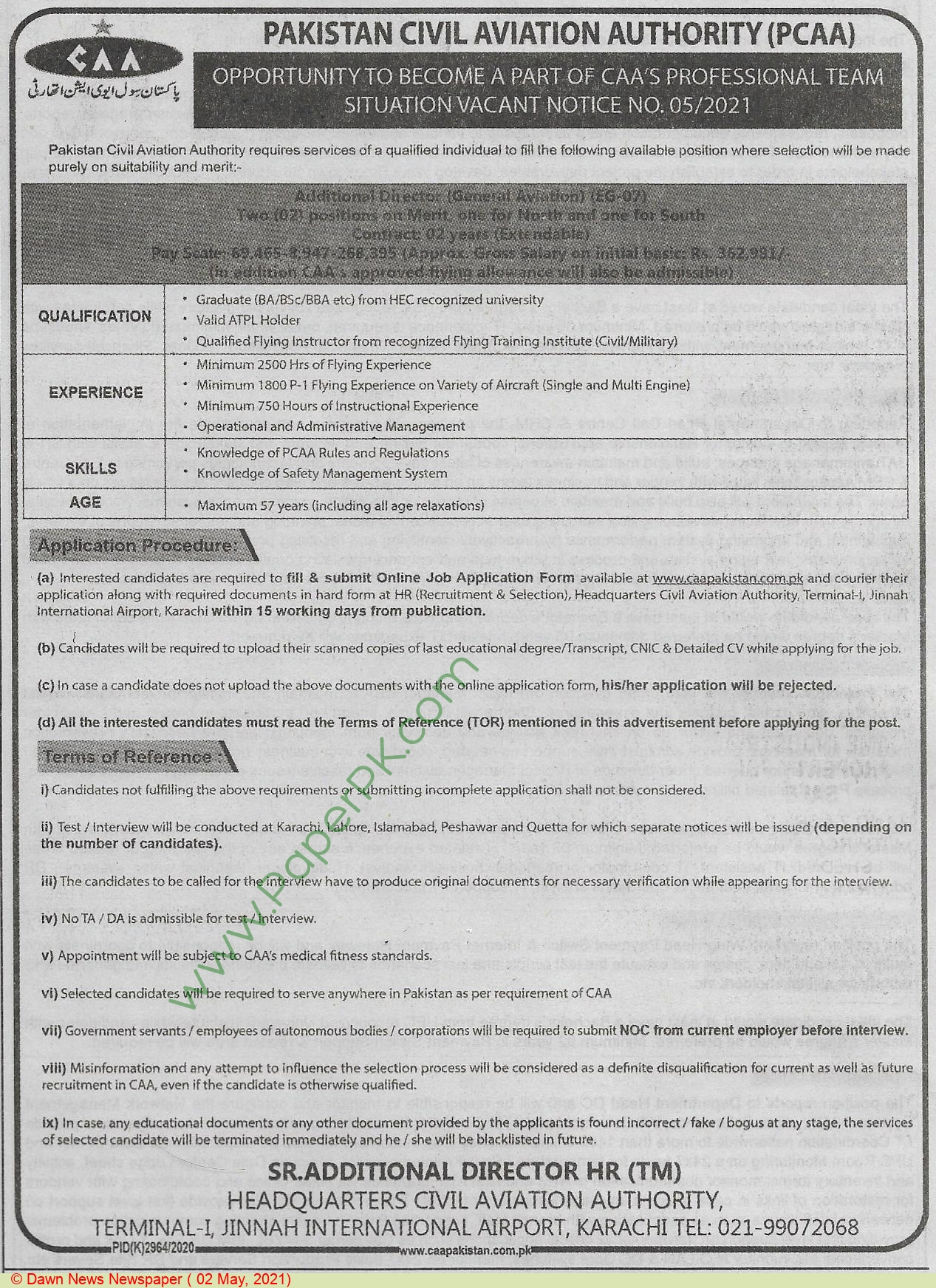 Pakistan Civil Aviation Authority jobs newspaper ad for Additional Director in Karachi on 2021-05-02