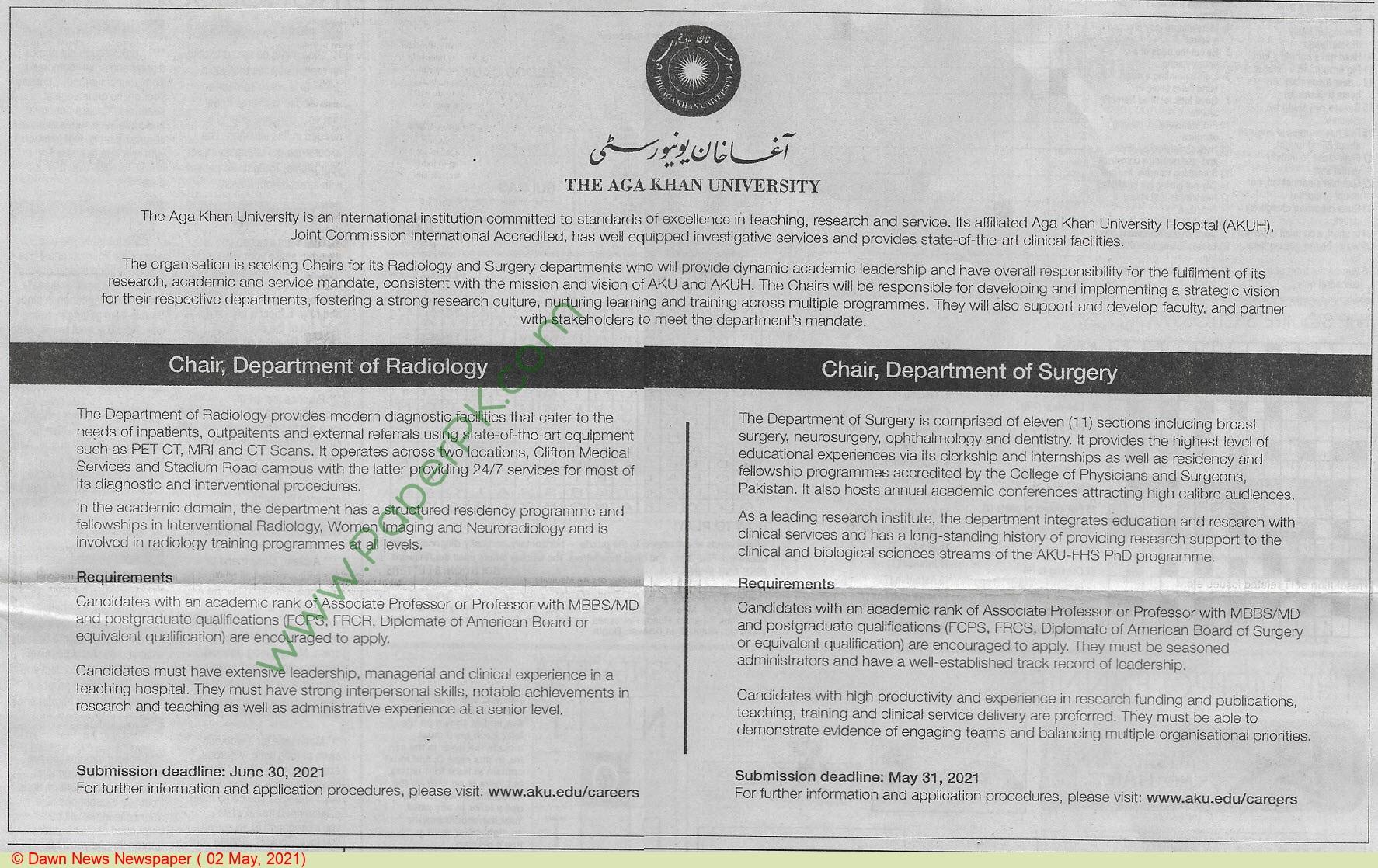 The Aga Khan University jobs newspaper ad for Chairman in Karachi on 2021-05-02