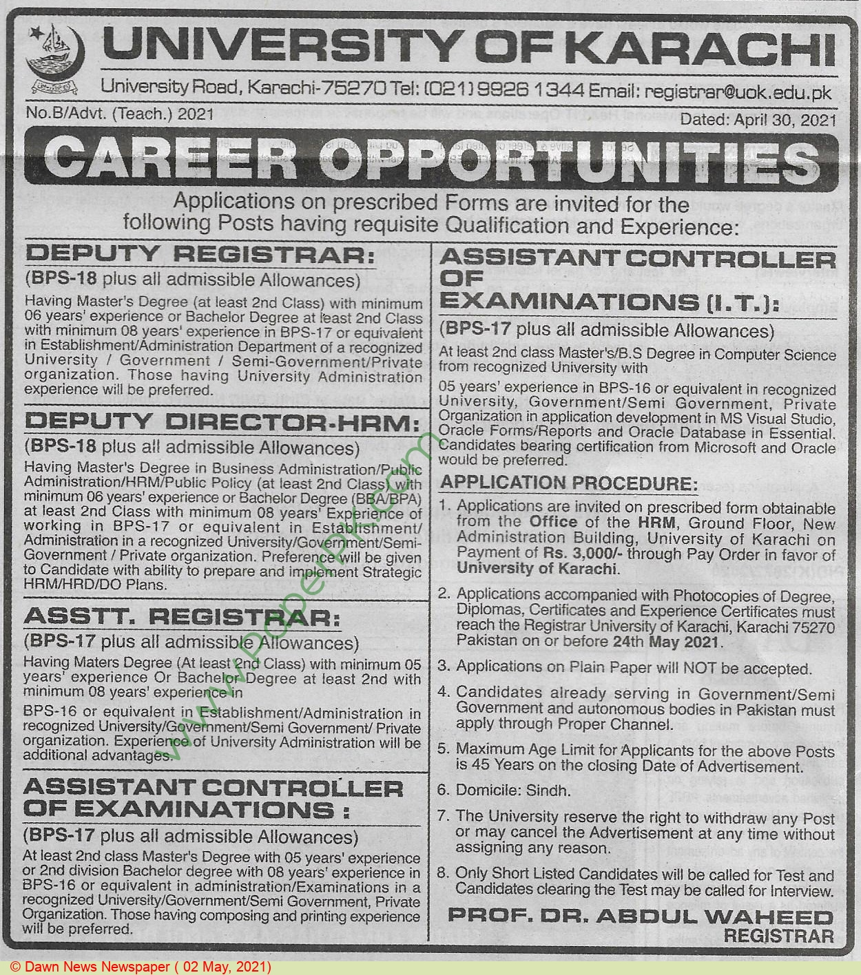 University Of Karachi jobs newspaper ad for Assistant Registrar in Karachi on 2021-05-02