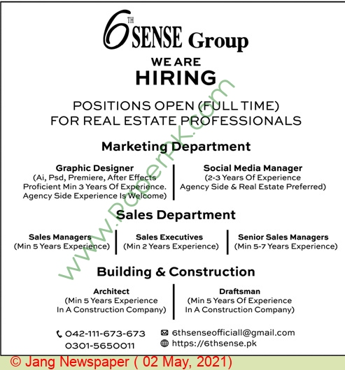 6th Sense Group jobs newspaper ad for Architect in Lahore on 2021-05-02