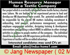 Islamabad Based Company jobs newspaper ad for Human Resource Manager in Lahore on 2021-05-02