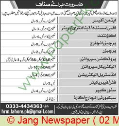 Lahore Based Company jobs newspaper ad for Electrical Supervisor in Lahore on 2021-05-02